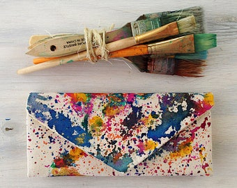 Women's wallet -  painted canvas wallet with option for custom country, state or continent. Travel art, map art