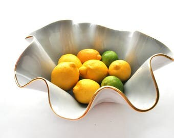 "Size G- Large wavy handmade ceramic 11-12"" wide x 4-6"" high bowl w/ 22K gold luster edges, wedding Gift, hostess gift, fruit bowl"