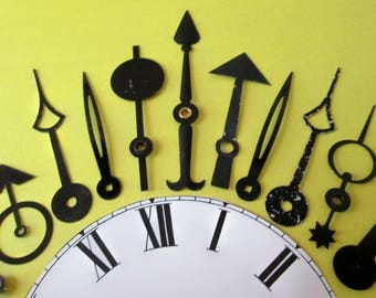 11 Assorted Large Vintage Mixed Metals Funky Design Clock Hands for your Clocks Projects - Jewelry - Steampunk Art
