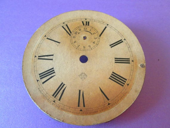 "4"" Antique Ansonia Clock Co. Heavy Paper Dial with Steel Mounting Plate for your Clock Projects, Steampunk Art and Etc.."
