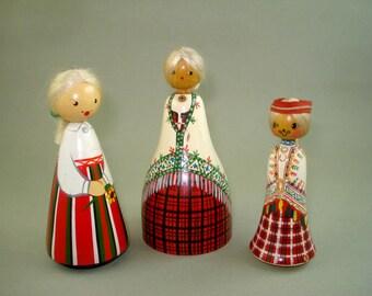 Lot of 3pc Vintage Old Russian Estonian Solid Wooden Dolls -* SALVO*  Woden Estonia Ethnic Doll in Folk costume Free Shipping!!!