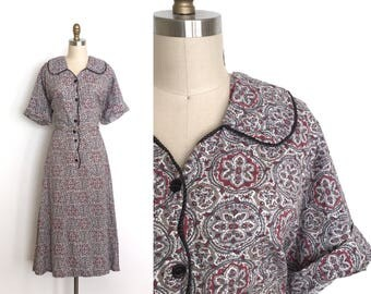 RESERVED vintage 1940s dress   40s shirtwaist cotton dress