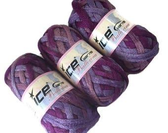 3 Ice Yarns Ballerina Lilac Rose Pink Purple Bulky Ruffle Scarf Yarn 20672