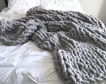 Huge Knit Blanket Throw Chenille | Light Grey | THE GRANDE