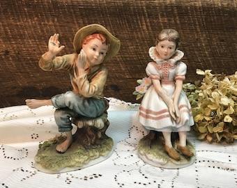 Tom Sawyer & Becky Sharp Figurines/Lefton China/KW 844/KW 845/Collectible