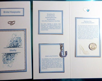 Bridal Keepsake Wedding Card with Traditional Something Blue Lucky Horseshoe, Lucky Sixpence for Shoe Personalised with Brides Name
