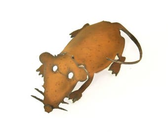 Mouse Origami Folded Rusted Metal Figurine