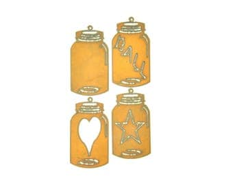 Mason Jar Rusty Metal Ornament Assortment