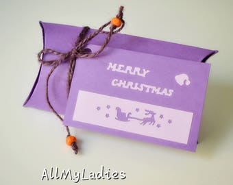 Gift box, pillow box, Christmas gift wrapping, purple, MERRY CHRISTMAS