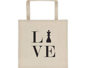 Tote bag - Live Love Chess Black Queen Tote Bag