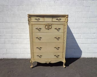Antique Dresser Tall Boy Highboy Chest Drawers Shabby Chic French Provincial Country Bedroom Set Table Armoire