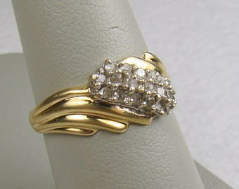 Diamond Encrusted 10K Gold By-Pass Mounted Ring  Signed VA ~  Size 7 1/4ish (Photo#5)