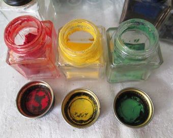Vintage Carter's Tempera Colors, 6 Colors in Square Glass Jars with Screw On Lids, The Carter's Ink Company