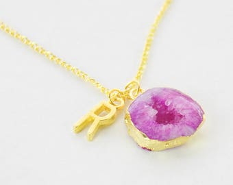 Geode Pendant, Druzy Pendant, Fuchsia Pendant, Gold Initial Necklace, Pink Geode Pendant Necklace, Crystal Layering Pendant