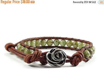 SALE Leather Wrap Bracelet Rose Button Green Beaded Jewelry