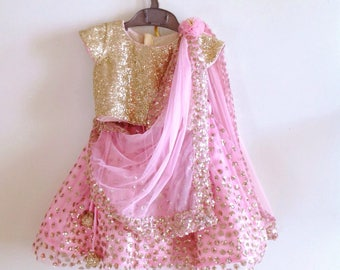 Sequin lehenga and sequin blouse in custom colors
