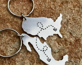 Long Distance Relationship Keychain Mexico, USA, Canada Australia, UK, Country, City, State, Custom Best Friends, Going Away Boyfriend Gift