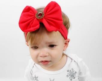 Red Headband/Baby Headband/Baby Headbands and Bow/Infant Headband/Baby Girl Headband/Girl Headband /Toddler Headband/Photo Prop Baby
