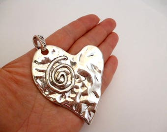 """Large Silver Tone Charm Pendant_ NAC9798322176_ Large Silver Heart of 65x80 mm _ 2/5 """"x 3/14""""_ pack 1 pcs"""