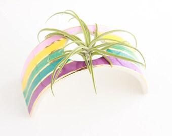 Air Plant Display, Air Plant Holder, Air Plant Planter, Rainbow Home Decor, Gold Decor, Rainbow Gift, Desk Air Planter, Home Gift under 50