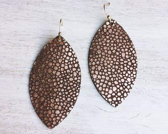 Rose Gold on Chocolate Suede GENUINE STINGRAY LEATHER Earrings