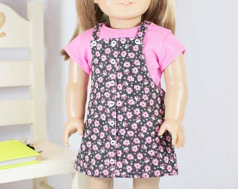 American Girl or 18 Inch Doll DRESS Jumper Pink Black with HEADBAND and BOOTS Option