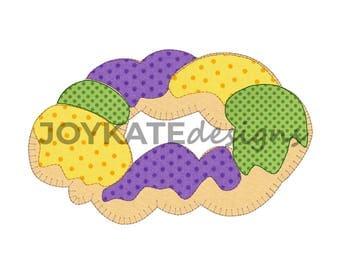 Bean Stitch King Cake Applique' design, Blanket stitch King Cake, Mardi Gras embroidery file, Raggy stitch King Cake embroidery design