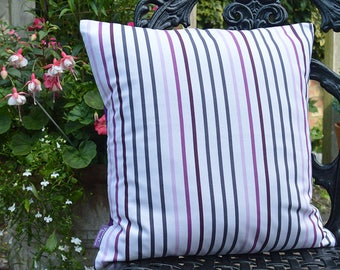 "Handmade 16""x16"" Cotton Cushion Pillow Cover in Pavillion Pink/Mauve/Plum Stripe on White Design Print"