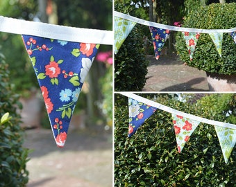 Handmade Mini Fabric Bunting Bonnie & Camille Design Cute Ditsy Navy and Red Floral 16 Double-Sided Flags for Home, Parties and more!
