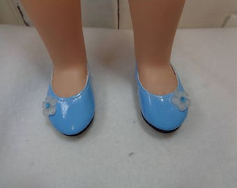 Pretty Sky Blue Patent Leather Shoes for 14 Inch Dolls- Fits Les cheries-Wellie Wishers and Hearts for Hearts