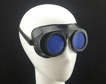 Cyber Rubber Goggles with Blue Lenses minion goggle cyberpunk aviator sunglasses cosplay glasses cyber goggles goggles punk goggles
