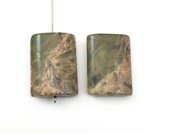 2 autumn jasper pillow stone beads 18MM X25MM #PP242-4