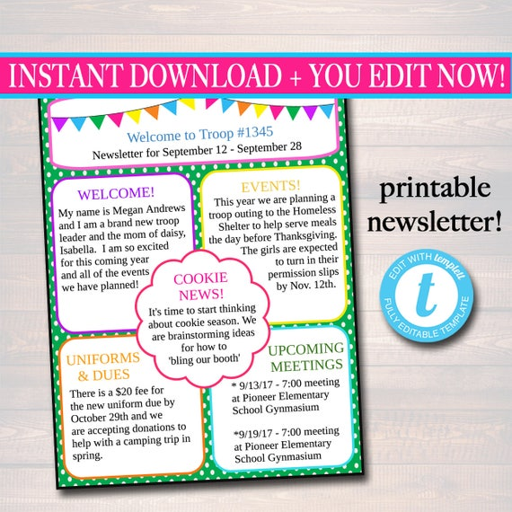 Editable newsletter template instant download teacher editable newsletter template instant download teacher newsletter event newsletter parent communication form school troop printable pronofoot35fo Image collections