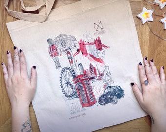 London Tote Bag // City illustration // London Print // London illustration // London Art // London Bag // London gift // Gift for Her