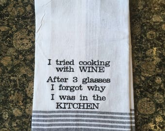 Cooking With Wine Tea Towel (Black Stripe)