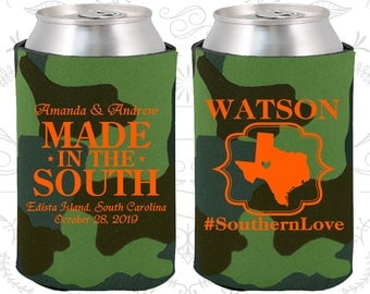 Southern Love, Made in the South, Wedding Decor, Southern Wedding, Country Wedding, Rustic Wedding, Cheap Wedding Can Coolers (599)