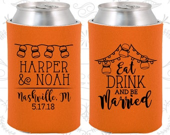 Neon Orange Wedding, Neon Orange Can Coolers, Neon Orange Wedding Favors, Neon Orange Wedding Gift, Neon Orange Wedding Decor (235)