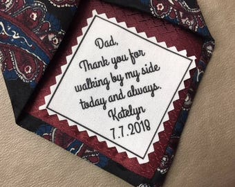 """SKINNY TIE PATCH - Choose Message and Font - Iron On - Sew On - 2"""" x 2"""" - Ink Printed Tie Patch, Father of Bride or Groom, Bridegroom Patch"""