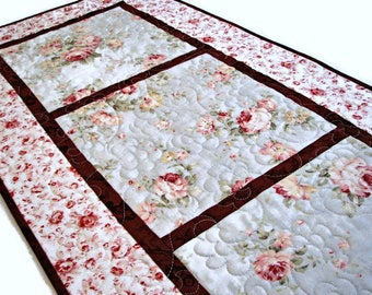 Shabby Cottage  Chic Quilted Table Runner, Pale Blue and Wine Floral Table Mat, Quiltsy Handmade