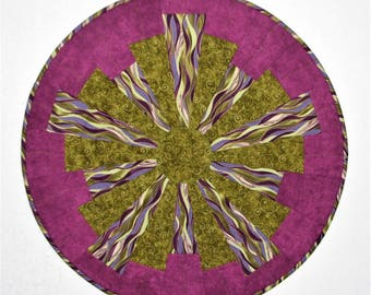 Modern Quilted Table Topper, Round Quilted Table Mat, Starburst Table Topper in Bright Orchid and Moss Green, 26.5 in., Quiltsy Handmade