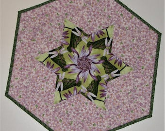 Spring Quilted Table Topper, Floral Hexagon Table Mat, Kaleidoscope Table Topper, Lavender and Green Easter Table Topper,  Quiltsy Handmade