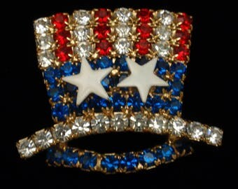 Uncle Sam Hat Brooch Pin Red White Blue Rhinestones