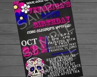Sugar Skull Birthday Party Invitation, 4x6 Invitation