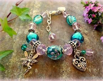 Girls Fairy Charm Bracelet; Girls Mint Green Charm Bracelet; Girls Pink Charm Bracelet; Fairy Bracelet; Fairy Jewelry; Australian Seller