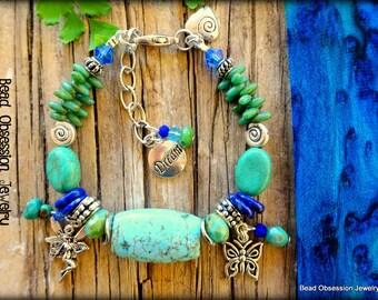 Boho Bracelet; Turquoise Bracelet; Fairy Bracelet; Hippie Bracelet; Bohemian Bracelet; Charm Bracelet; Blue Bead Bracelet; Australian Seller