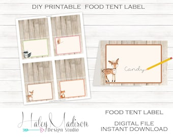 Floral Woodland Food Tent Labels, Woodland Place cards, Woodland Birhtday, Baby Shower decoration DIGITAL FILE