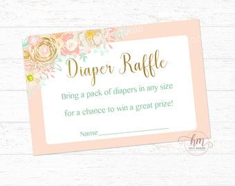 Floral Diaper Raflle cards, Floral Baby shower, Mint, Gold, Coral, Pink, Diaper Raffle cards, PRINTABLE FILE