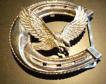 "200.00 Value Belt BUCKLE w EAGLE & Lucky HORSESHOE - 3"" by 2.5"" - Fits 2"" Belt - 66 grams 930 Silver - Spring Hinges - October Free Shipping"