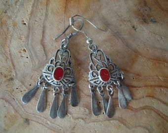 Vintage silver and red carnelian earrings
