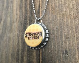 Stranger things bottle cap Necklace handmade unique gift